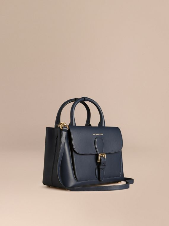 The Small Saddle Bag in Smooth Bonded Leather Blue Carbon