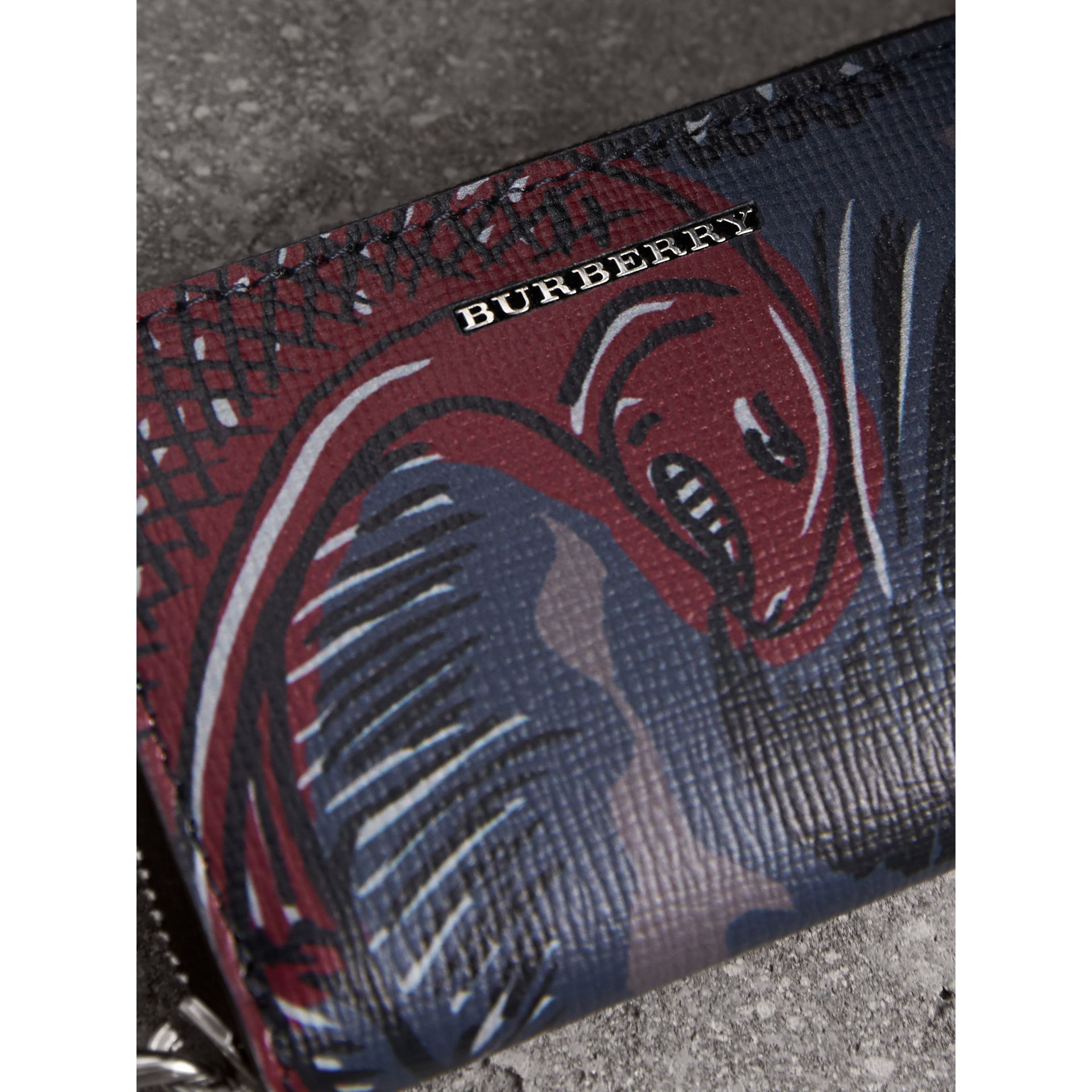 Beasts Print Leather Ziparound Coin Case in Navy Grey - Men | Burberry - gallery image 2