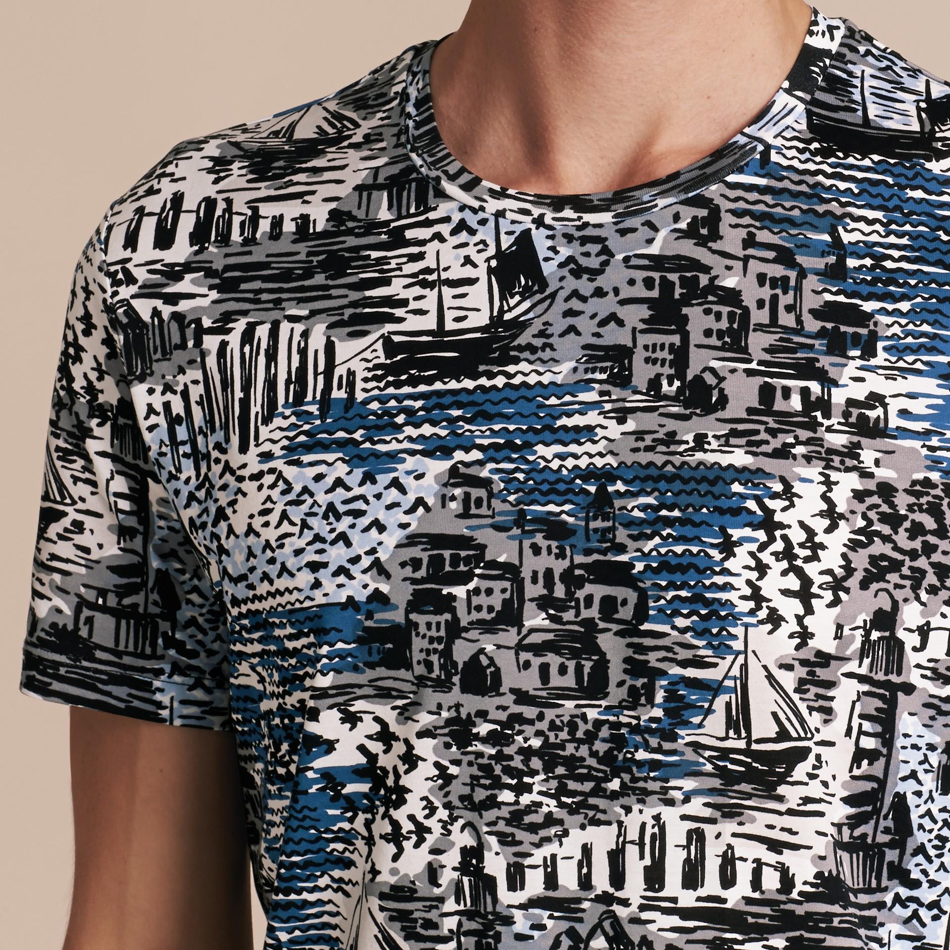 British Seaside Print Cotton T-shirt Steel Blue - gallery image 5