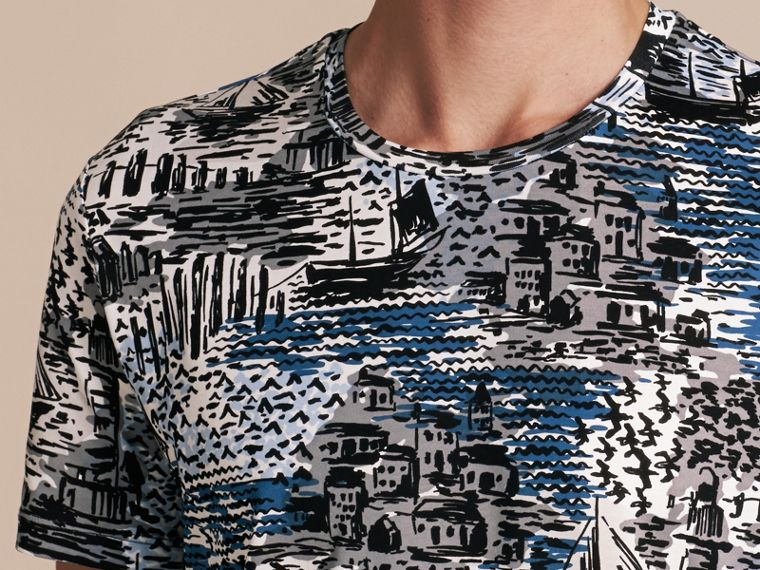 British Seaside Print Cotton T-shirt Steel Blue - cell image 4
