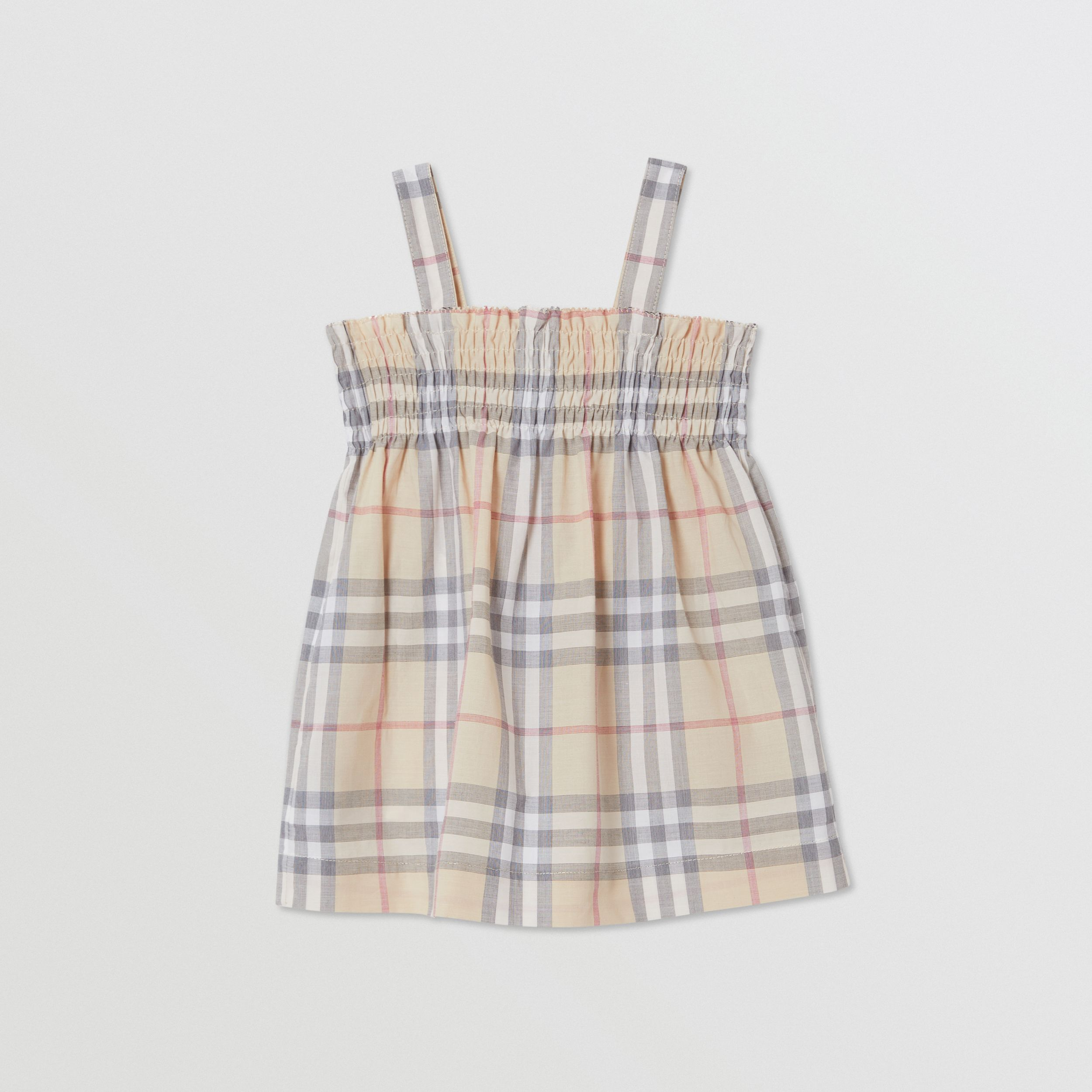 Smocked Check Cotton Dress with Bloomers in Pale Stone - Children | Burberry - 4