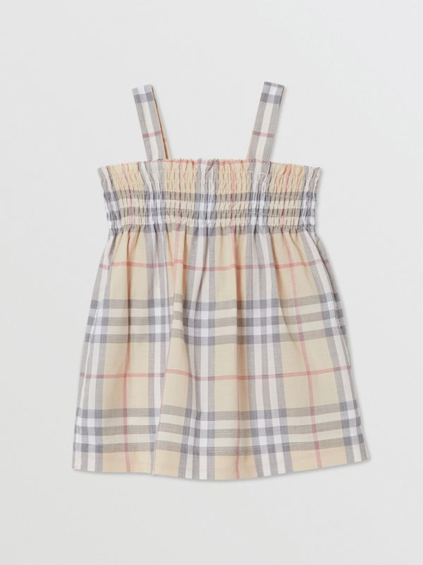 Smocked Check Cotton Dress with Bloomers in Pale Stone - Children | Burberry United Kingdom - cell image 3