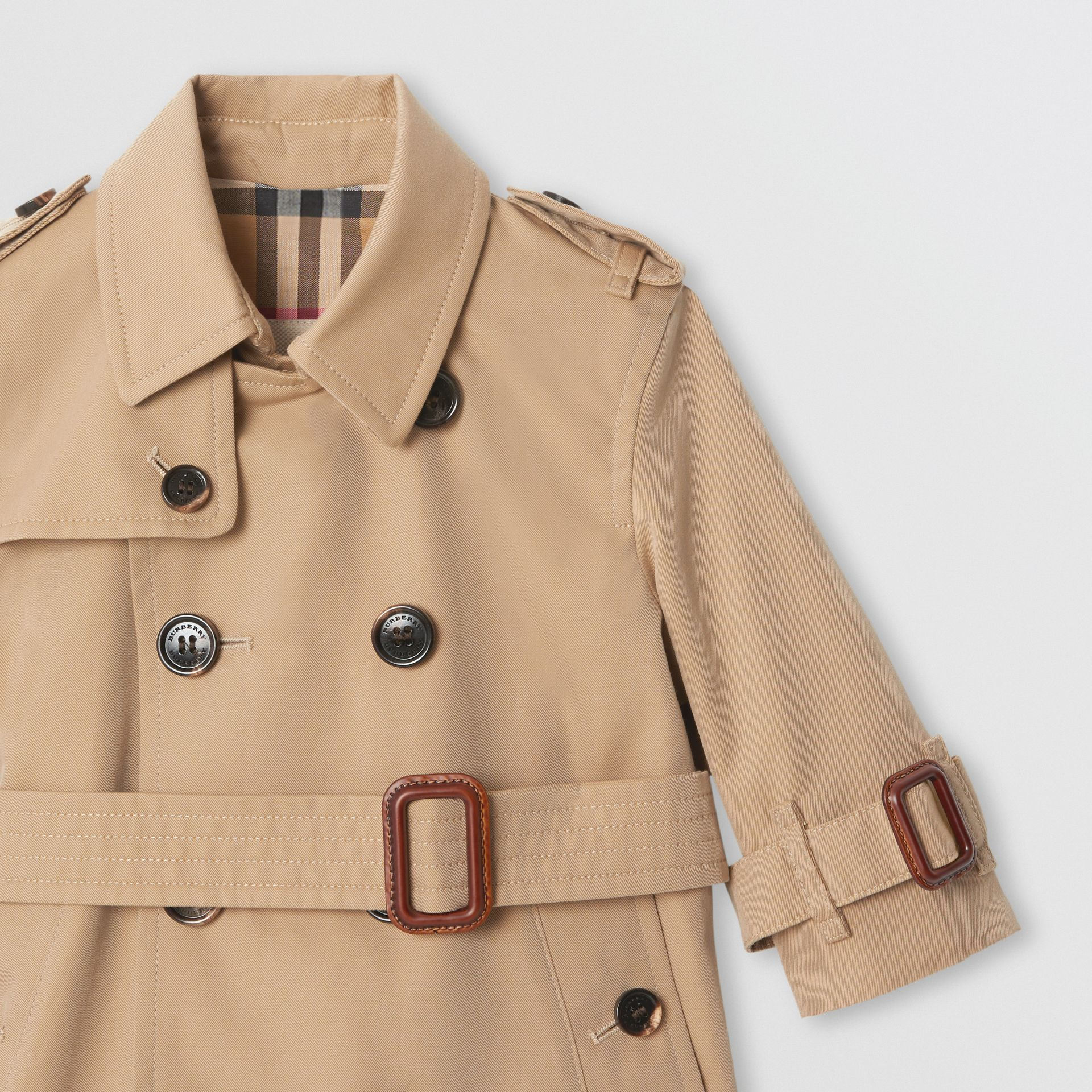 Cotton Gabardine Trench Coat in Honey - Children | Burberry United Kingdom - gallery image 5