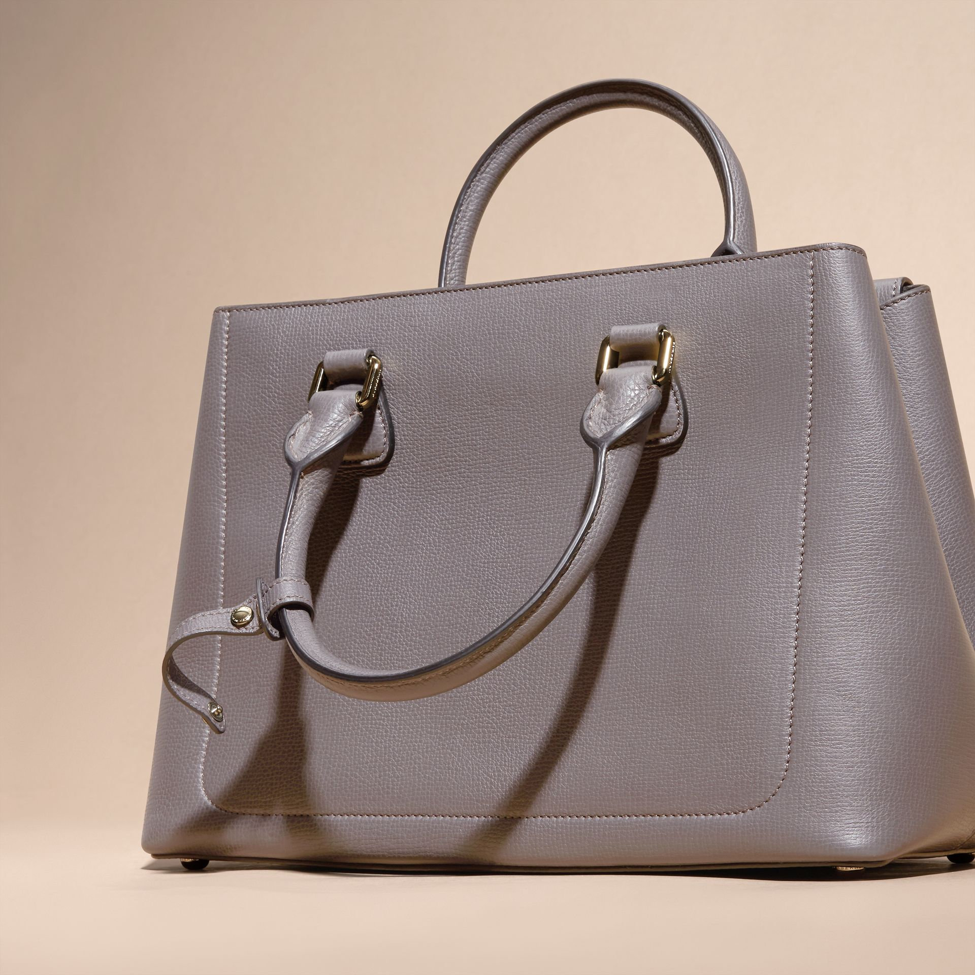 Sepia grey The Medium Saddle Bag in Grainy Bonded Leather Sepia Grey - gallery image 4
