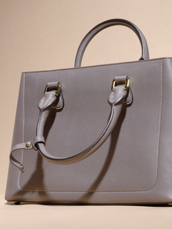 Sepia grey The Medium Saddle Bag in Grainy Bonded Leather Sepia Grey - cell image 3