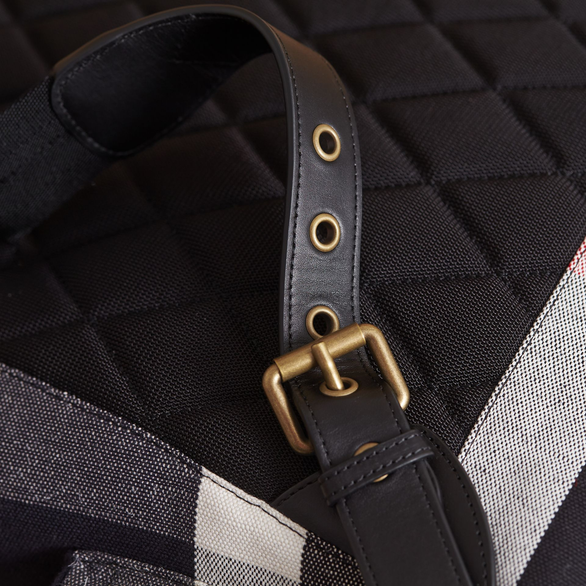 The Large Rucksack in Canvas Check and Leather in Black - Men | Burberry Singapore - gallery image 6