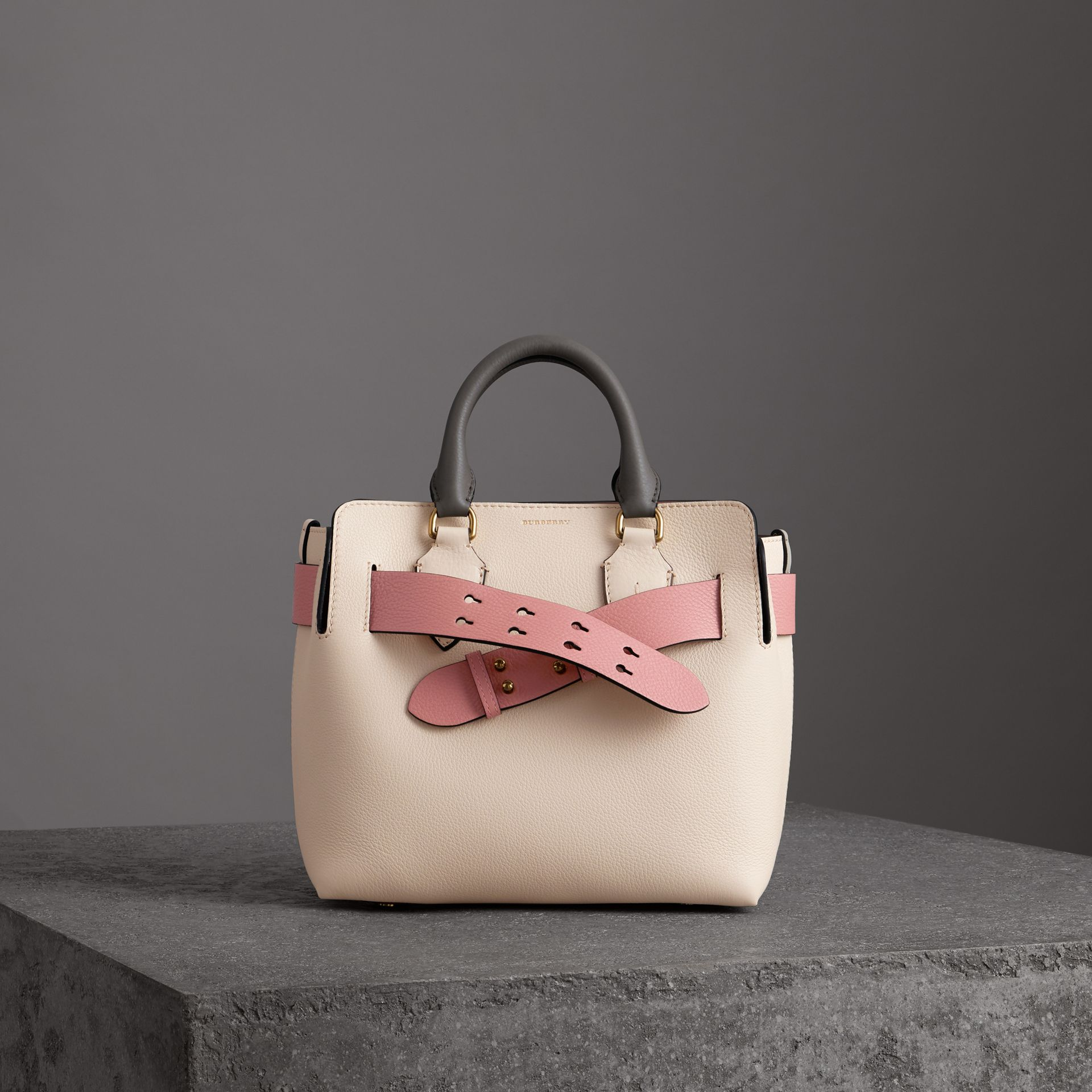 The Small Tri-tone Leather Belt Bag in Limestone/dusty Rose - Women | Burberry United Kingdom - gallery image 0