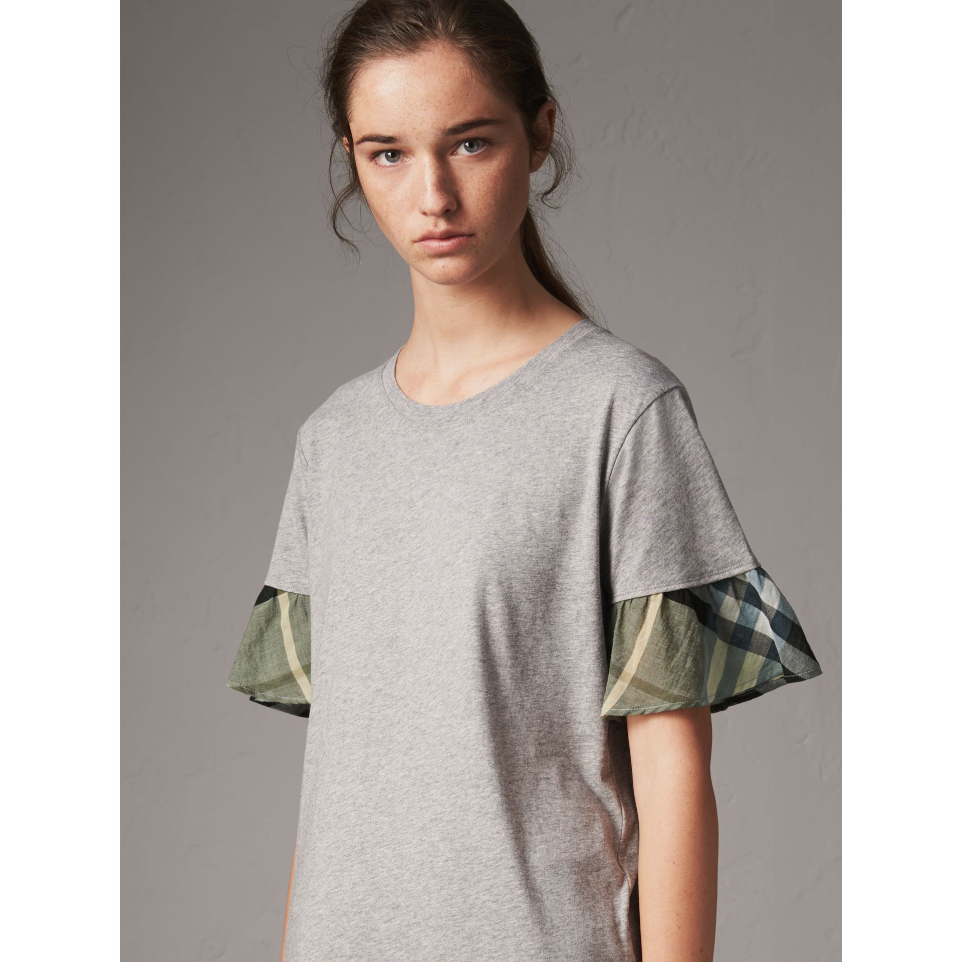 Flared-sleeve Check Detail Cotton T-shirt in Pale Grey Melange - Women | Burberry - gallery image 1