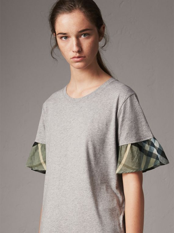 Flared-sleeve Check Detail Cotton T-shirt in Pale Grey Melange