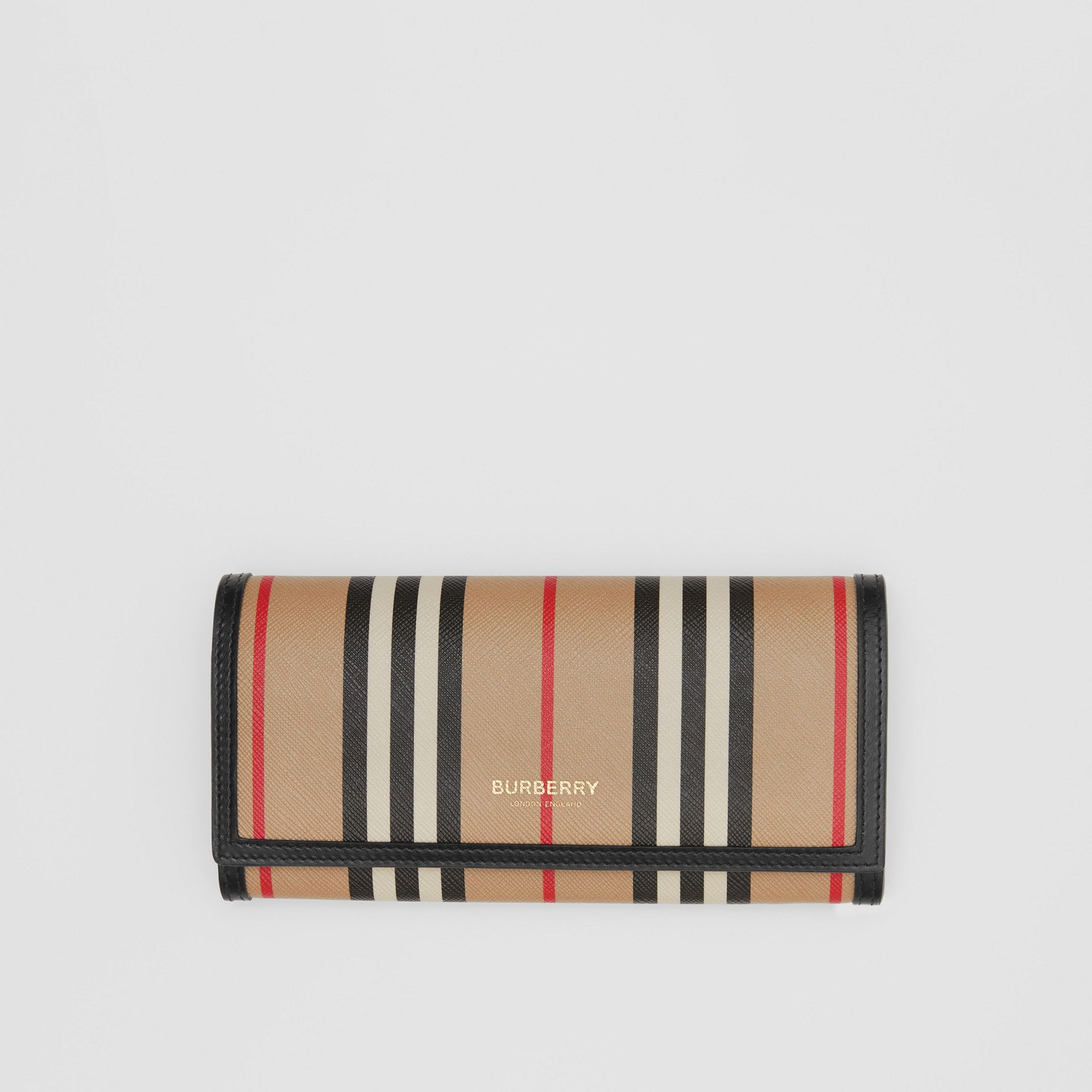 Icon Stripe E-canvas Continental Wallet in Archive Beige - Women | Burberry - gallery image 0