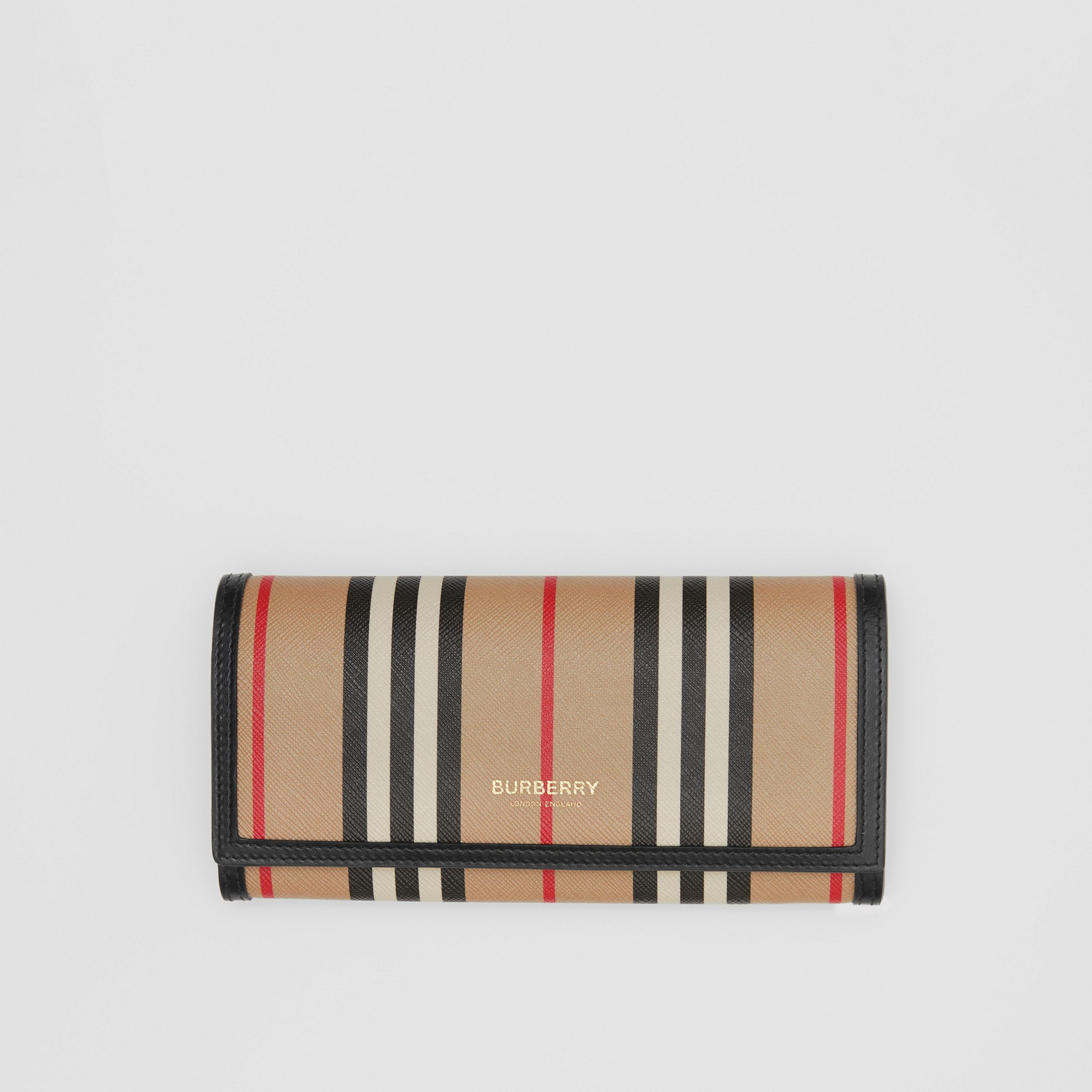 Icon Stripe E-canvas Continental Wallet in Archive Beige - Women | Burberry United States - 1