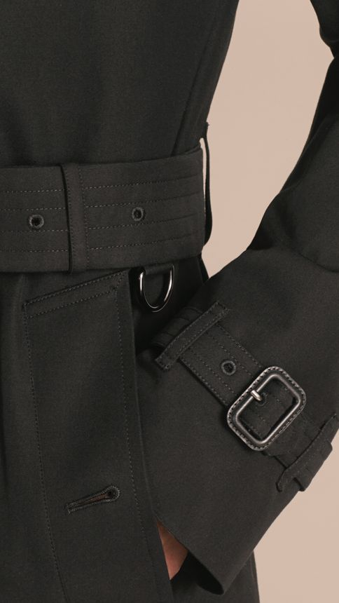 Black Cotton Gabardine Trench Coat Black - Image 6