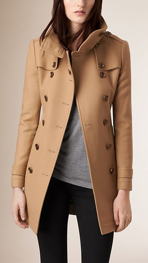 Camel Short Double Wool Twill Trench Coat - Image 1