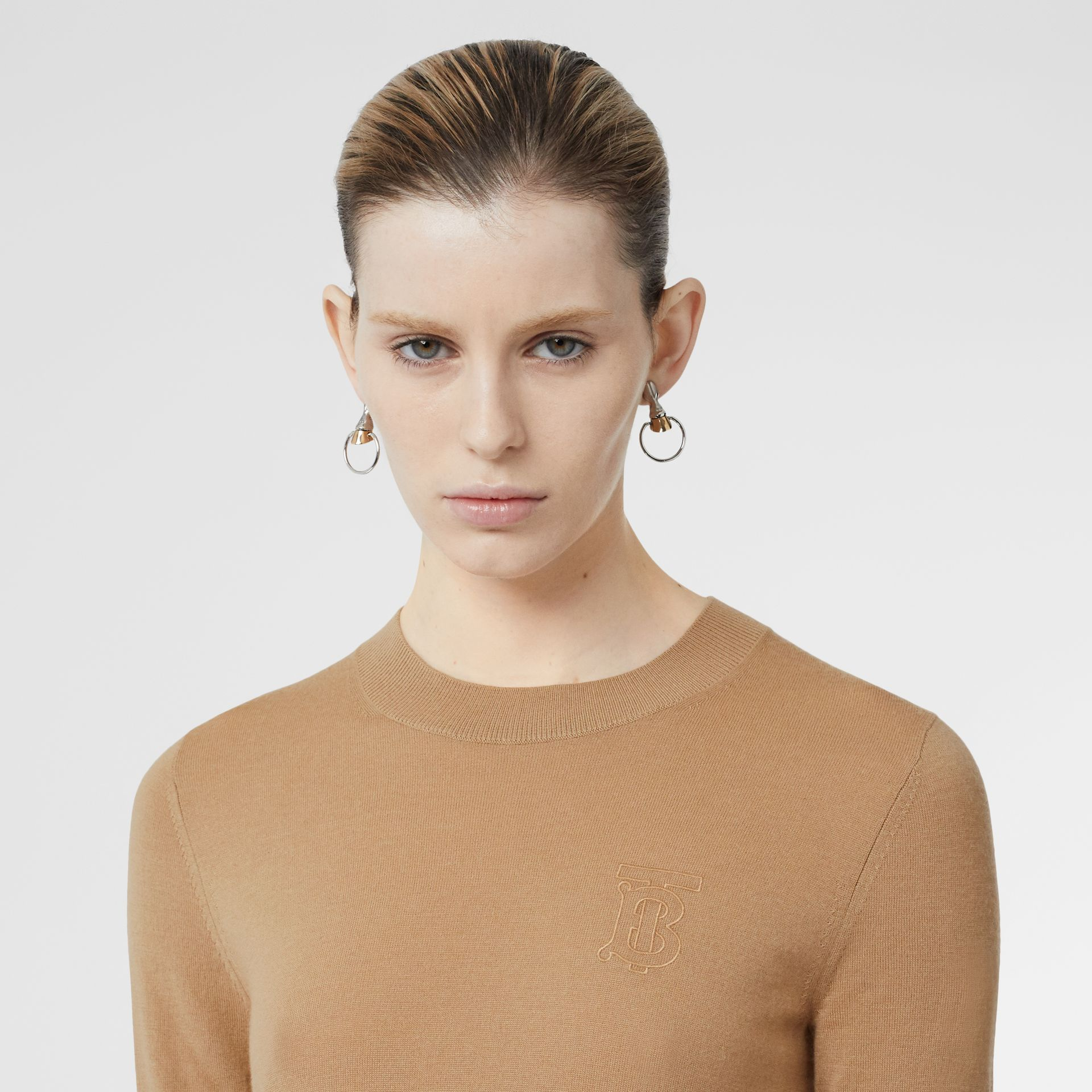 Monogram Motif Cashmere Top in Archive Beige - Women | Burberry United Kingdom - gallery image 1