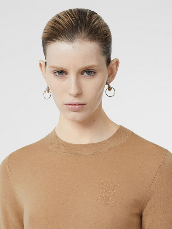Monogram Motif Cashmere Top in Archive Beige - Women | Burberry Australia - cell image 1