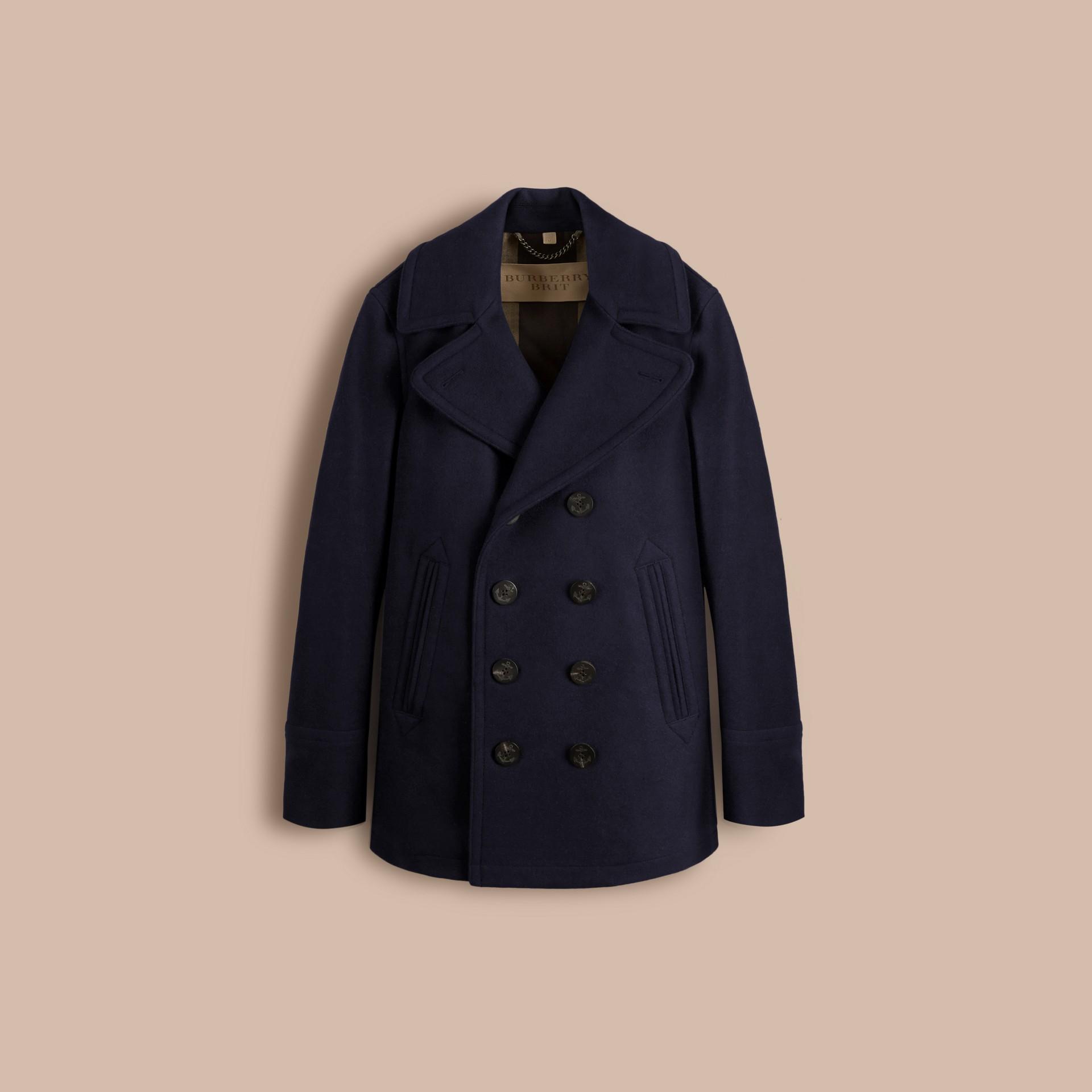 Azul marinho Pea Coat de lã e cashmere - galeria de imagens 3