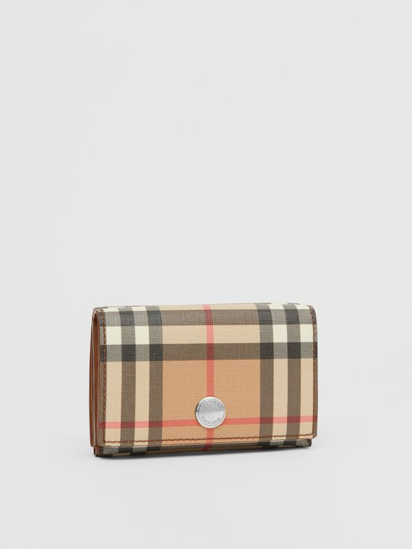 Small Vintage Check E-canvas Folding Wallet in Malt Brown - Women | Burberry United Kingdom - cell image 3