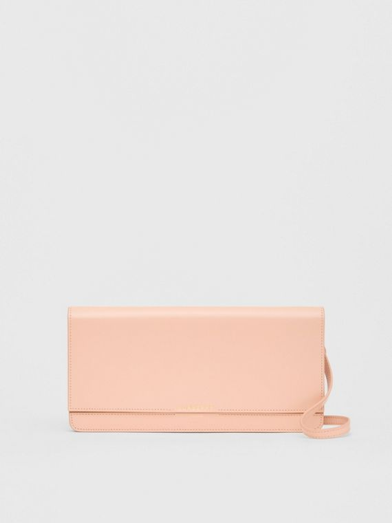 Horseferry Print Leather Bag with Detachable Strap in Blush Pink