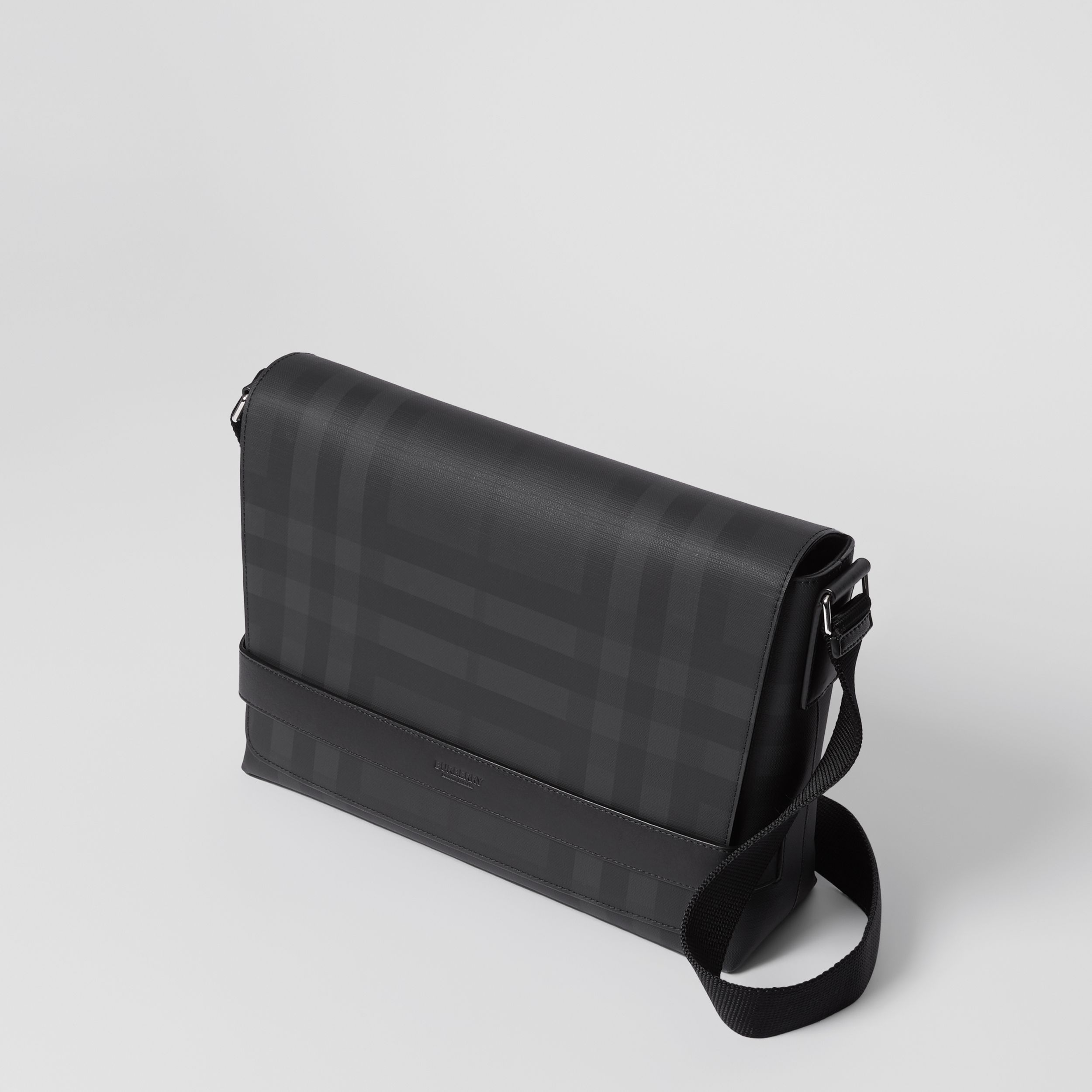 London Check and Leather Messenger Bag in Dark Charcoal - Men | Burberry - 4