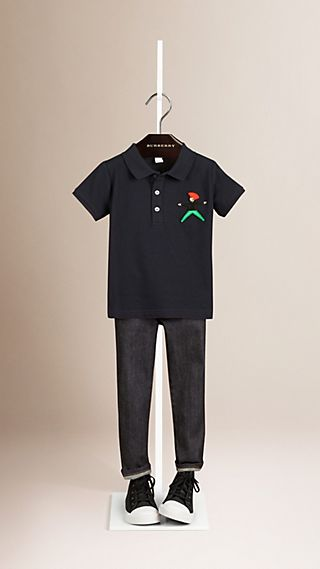 Embroidered Patch Cotton Polo Shirt