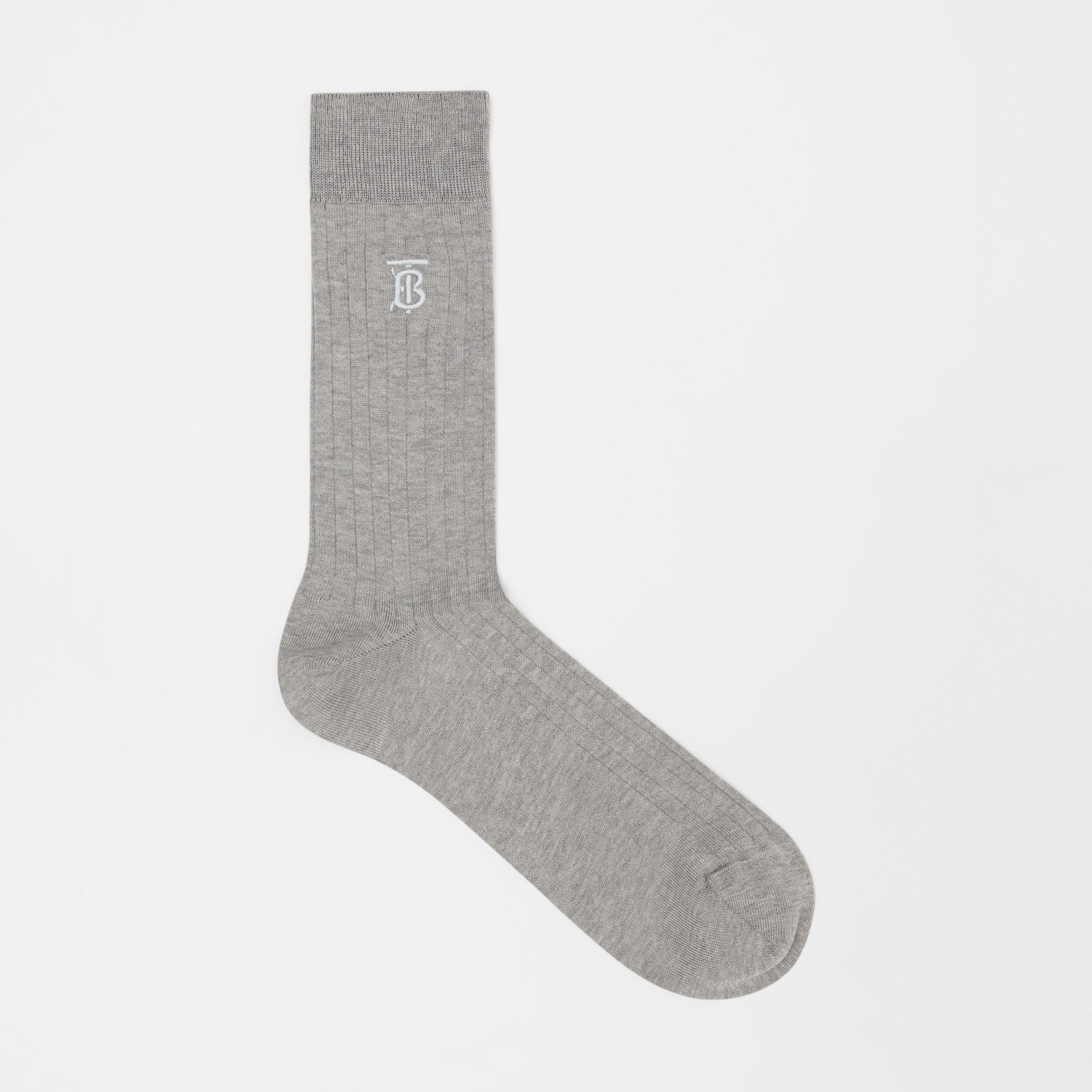 Monogram Motif Cotton Blend Socks in Grey | Burberry - 1