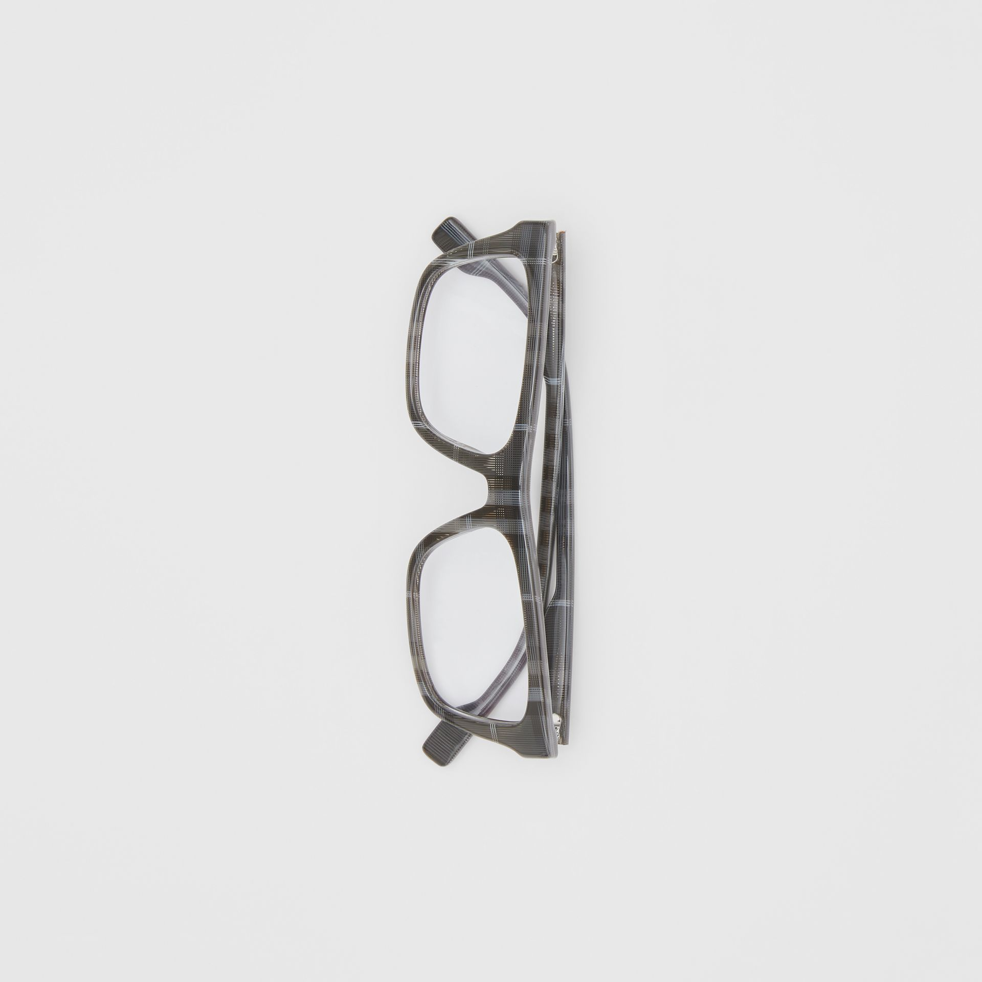 Vintage Check Rectangular Optical Frames in Charcoal Black - Men | Burberry - gallery image 3
