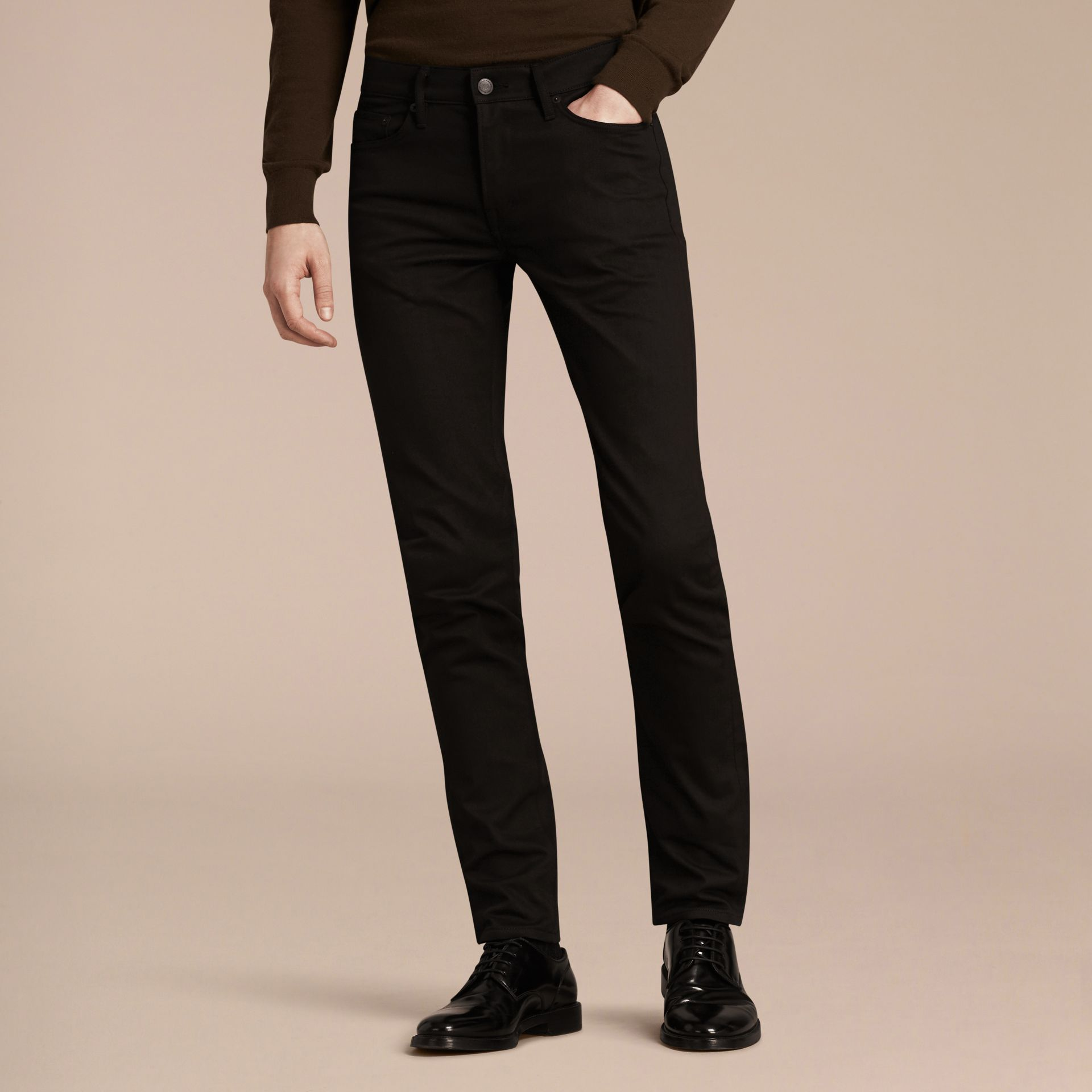 Black Slim Fit Unwashed Stretch Denim Jeans - gallery image 7