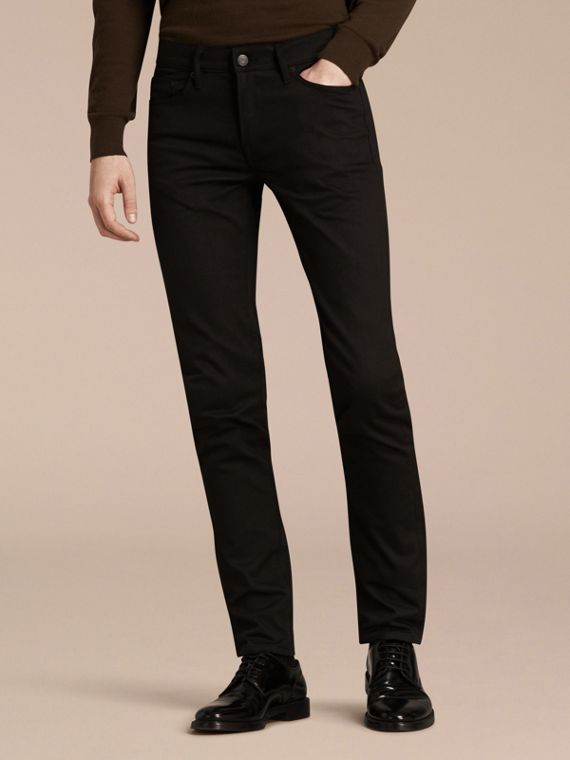 Slim Fit Unwashed Stretch Denim Jeans - Men | Burberry Australia