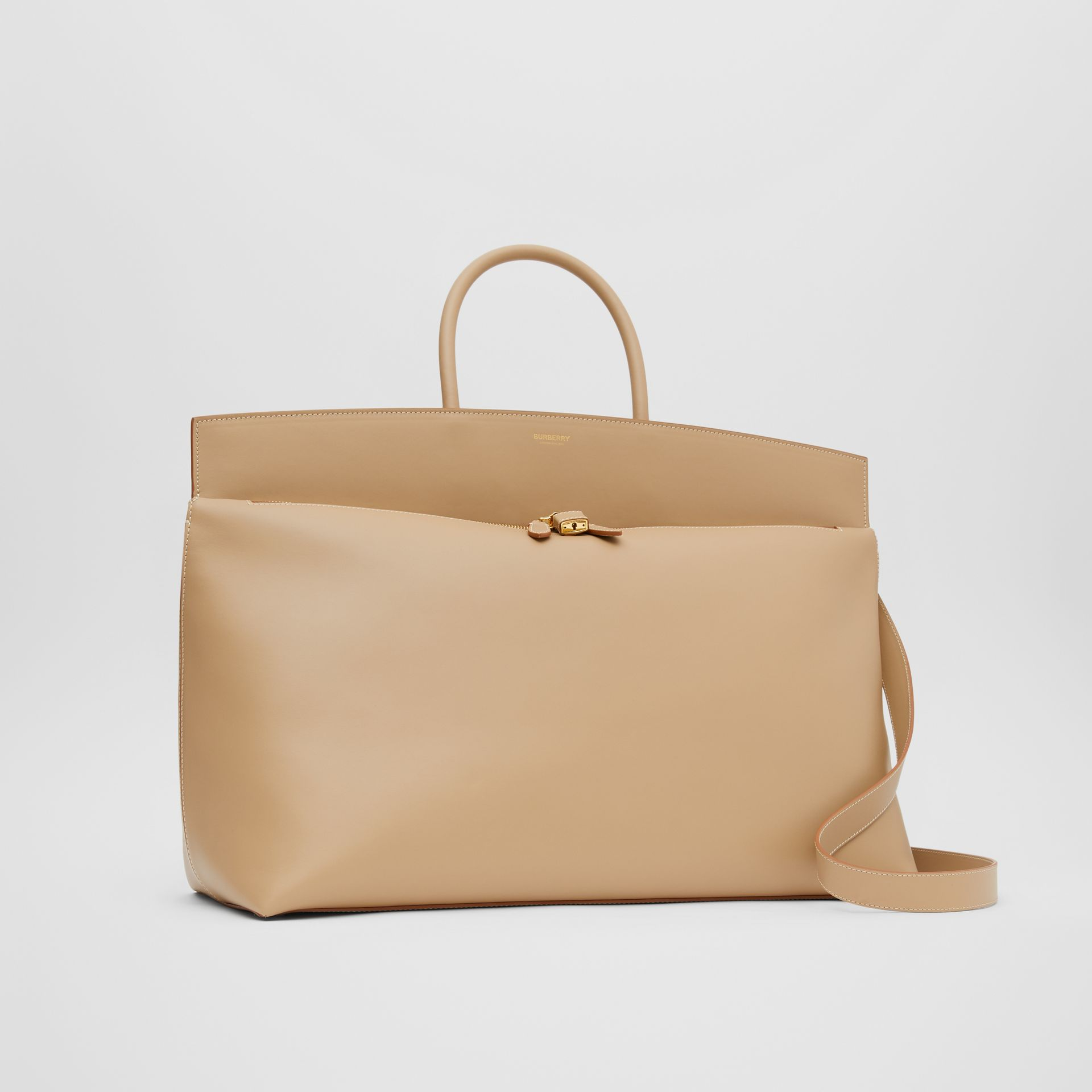 Extra Large Leather Society Top Handle Bag in Honey - Men | Burberry United Kingdom - gallery image 4