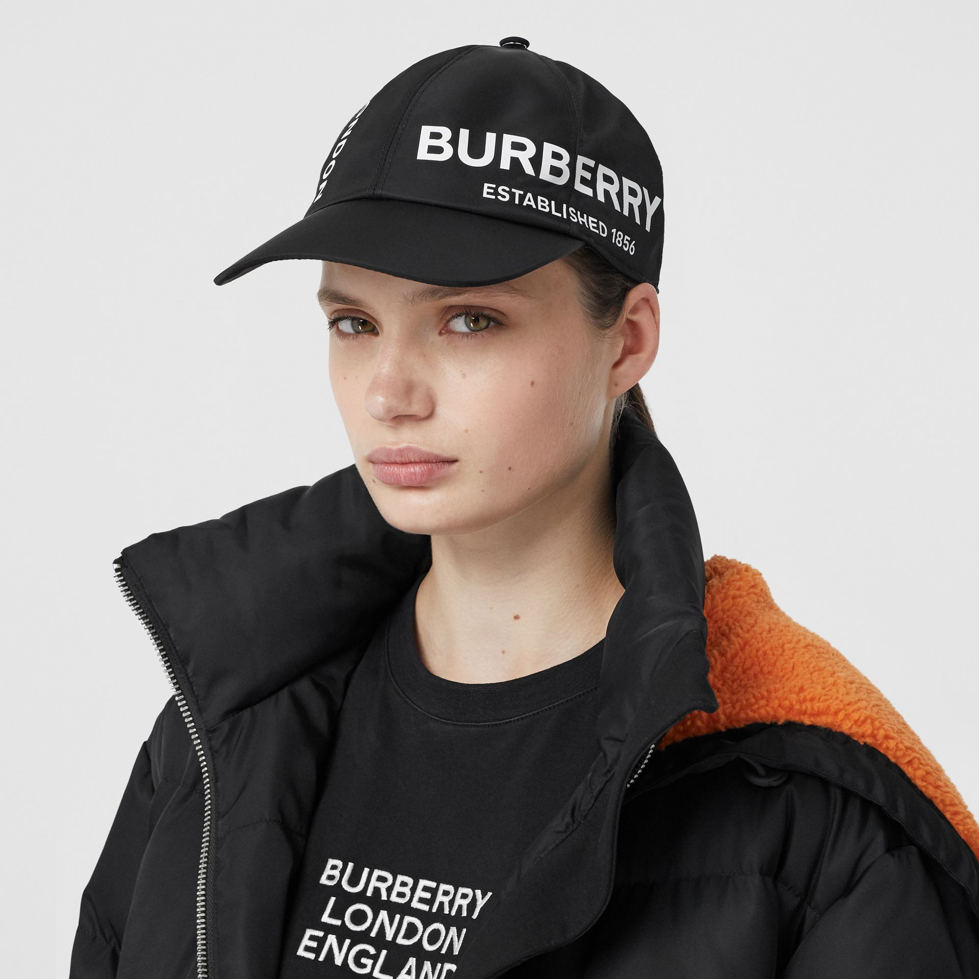 Horseferry Print Baseball Cap in Black | Burberry - gallery image 2