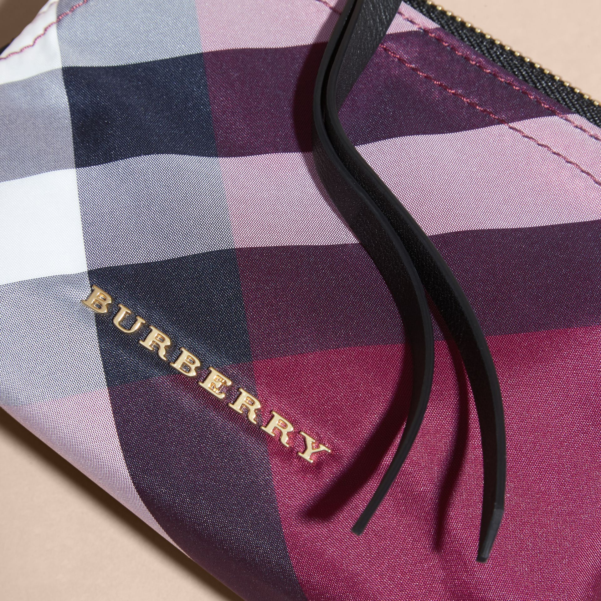 Plum Small Zip-top Check Pouch Plum - gallery image 2