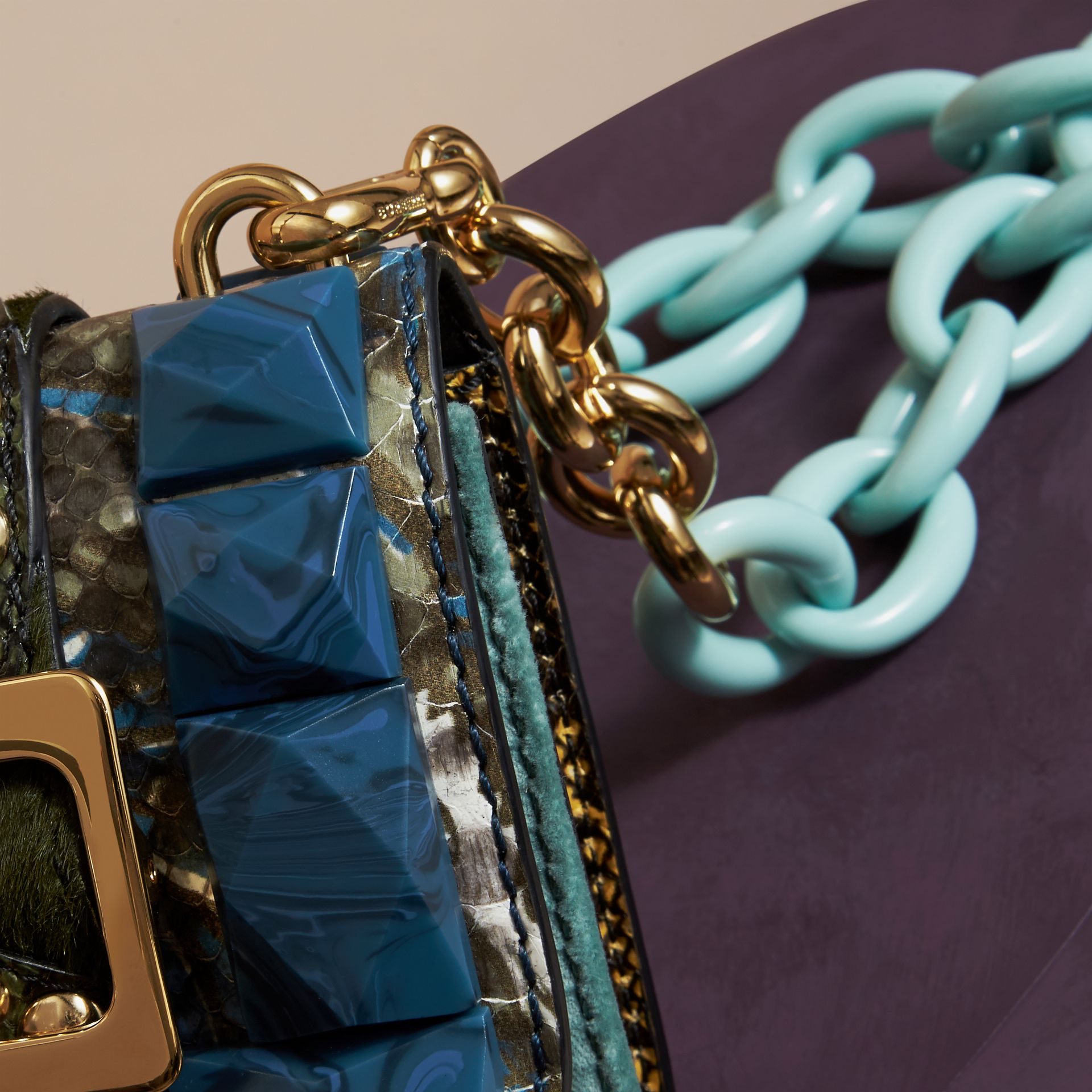 Pale opal The Mini Square Buckle Bag in Velvet and Snakeskin - gallery image 2