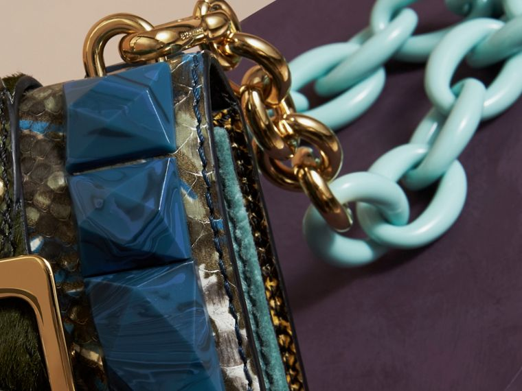 The Mini Square Buckle Bag in Velvet and Snakeskin in Pale Opal - cell image 1