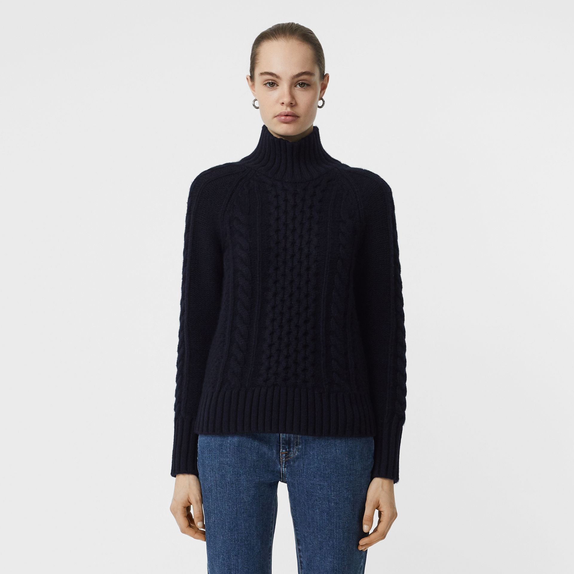 Cable Knit Cashmere Turtleneck Sweater in Navy - Women | Burberry - gallery image 5