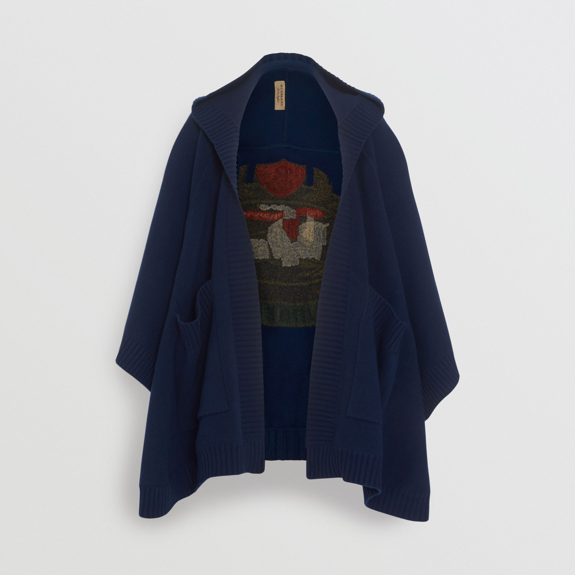 Crest Jacquard Wool Blend Hooded Cape in Navy - Women | Burberry - gallery image 3