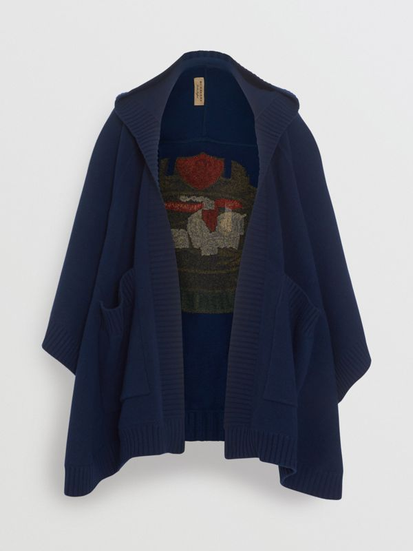 Crest Wool Blend Jacquard Hooded Cape in Navy - Women | Burberry - cell image 3