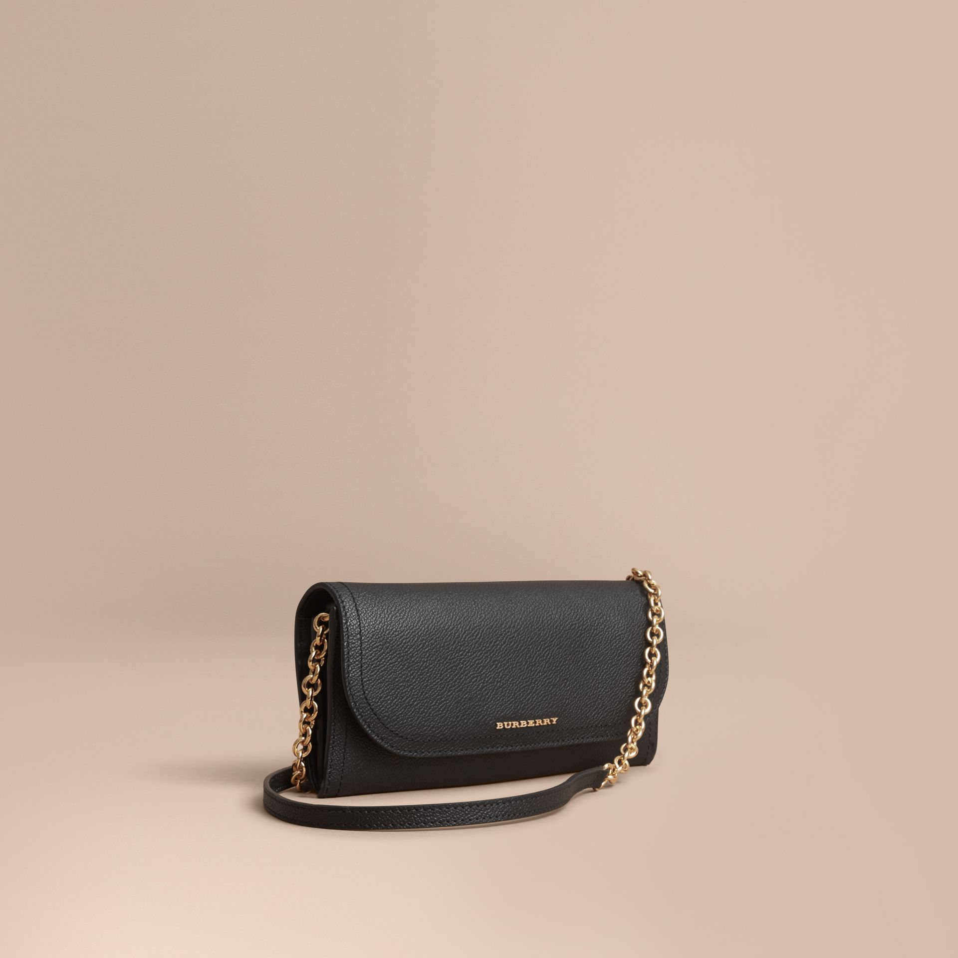 Leather Wallet with Chain in Black - Women | Burberry - gallery image 1