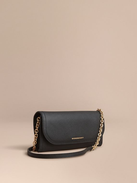 Leather Wallet with Chain in Black - Women | Burberry Canada