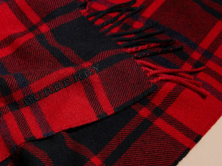Parade red Oversize Tartan Wool Cashmere Fringe Scarf Parade Red - cell image 1