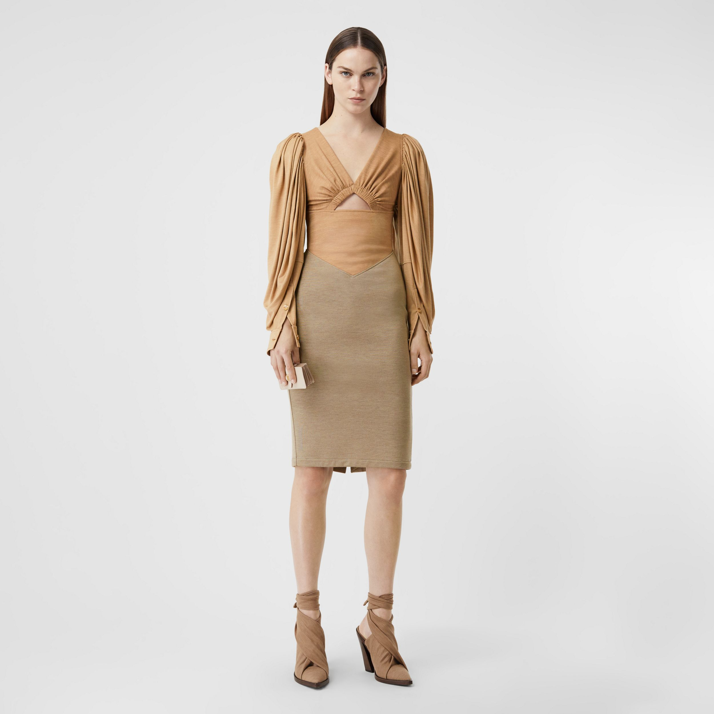 Panelled Wool Silk Jersey Dress in Pecan Melange - Women | Burberry - 1