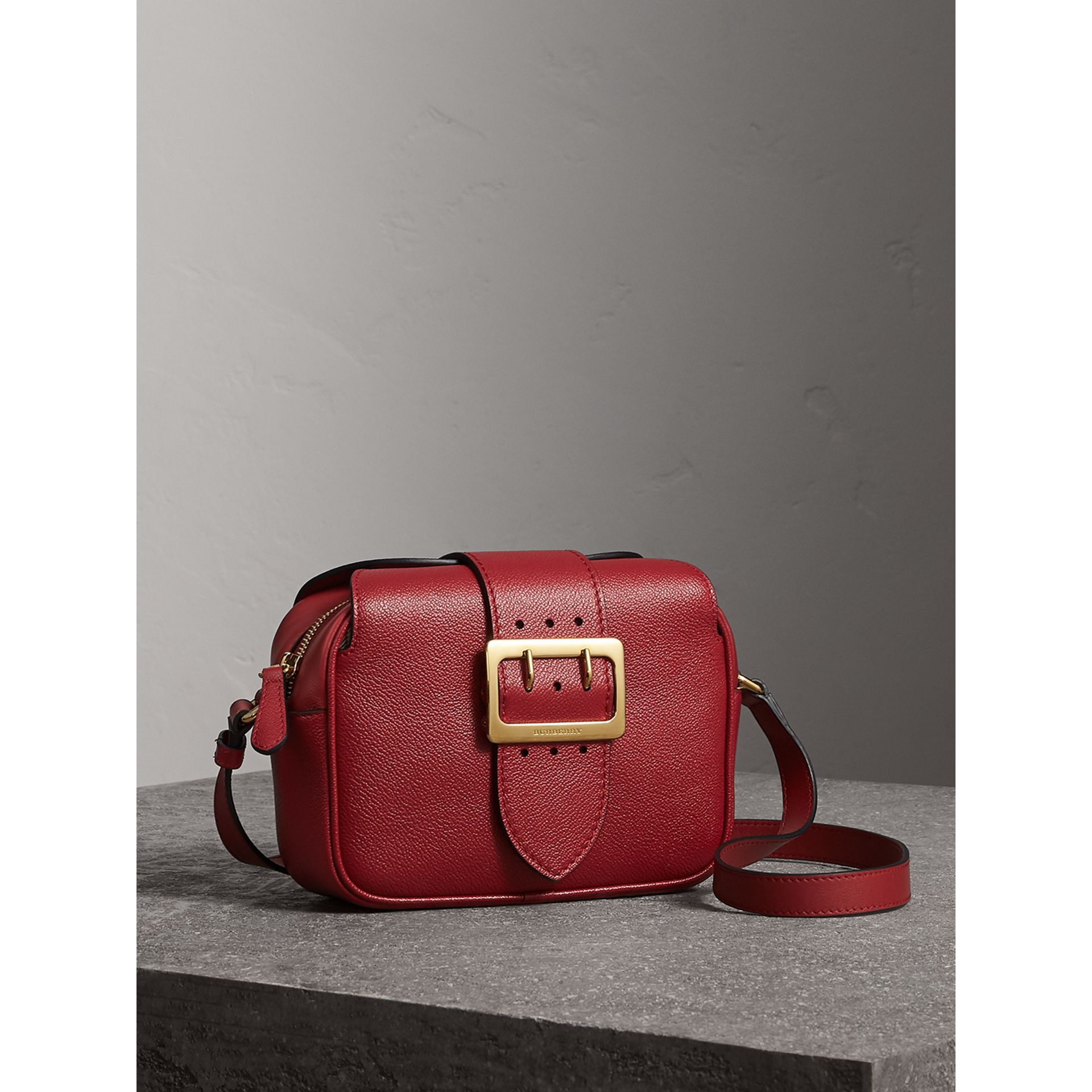 The Small Buckle Crossbody Bag in Leather in Parade Red - Women | Burberry - gallery image 6