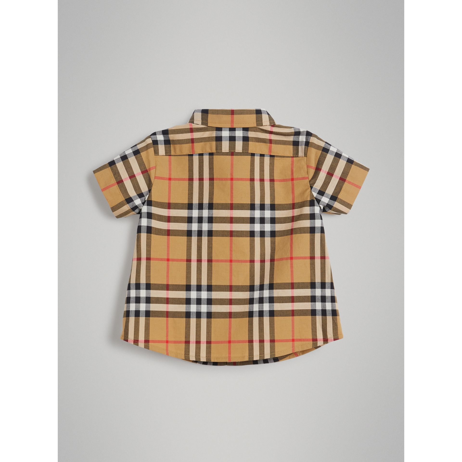 Short-sleeve Vintage Check Cotton Shirt in Antique Yellow | Burberry Australia - gallery image 3
