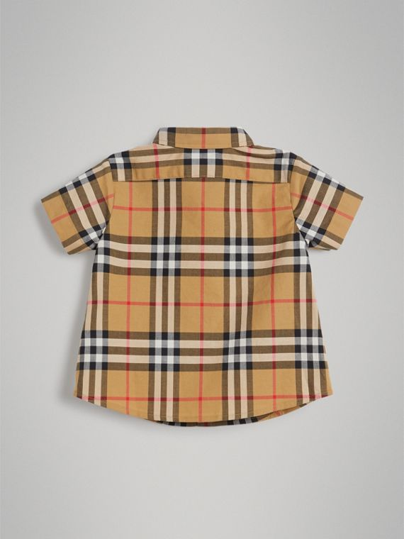 Short-sleeve Vintage Check Cotton Shirt in Antique Yellow | Burberry Australia - cell image 3