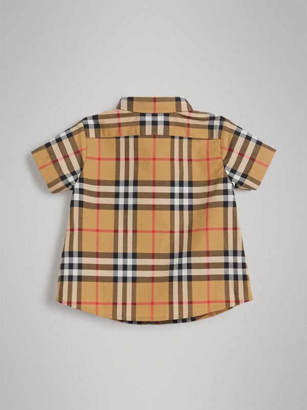 Short-sleeve Vintage Check Cotton Shirt in Antique Yellow - Children | Burberry Hong Kong - cell image 3