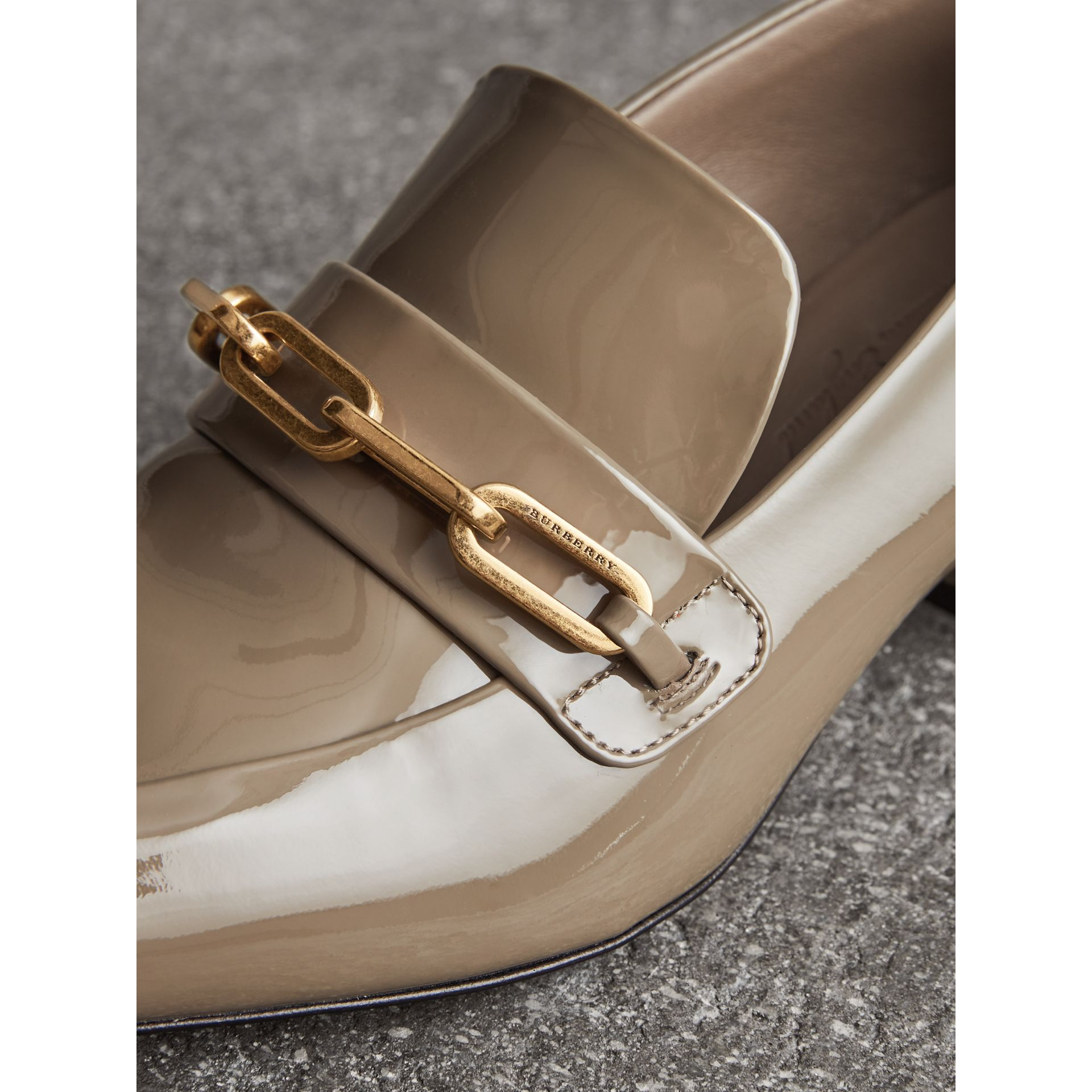 Link Detail Patent Leather Block-heel Loafers in Taupe Grey - Women | Burberry - gallery image 1
