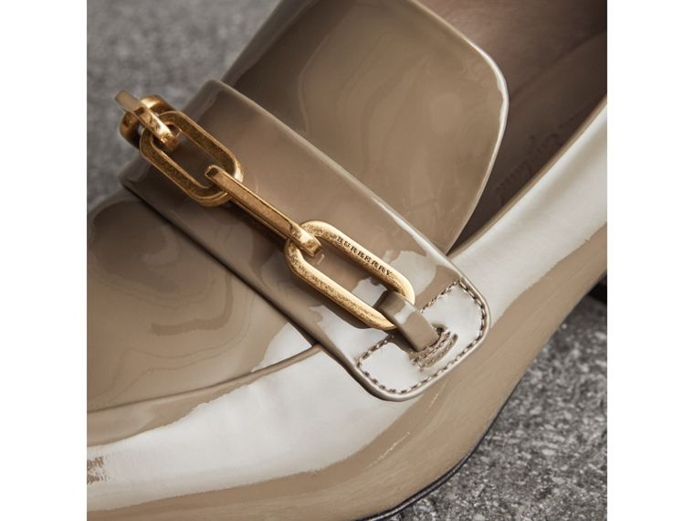 Link Detail Patent Leather Block-heel Loafers in Taupe Grey - Women | Burberry - cell image 1