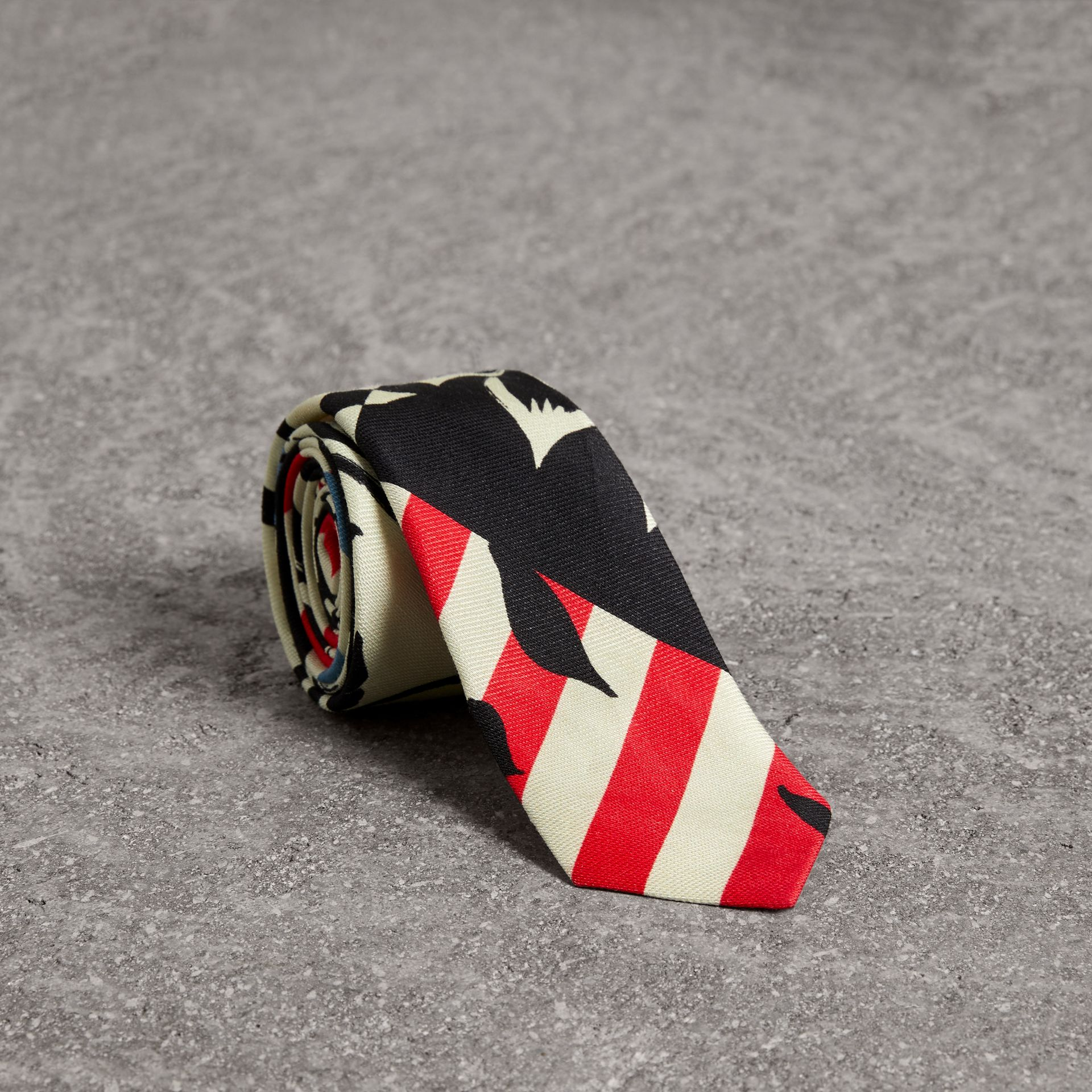 Slim Cut Floral Stripe Print Linen Silk Tie in Bright Red - Men | Burberry United States - gallery image 0
