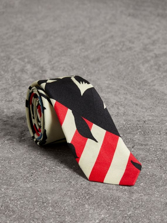 Slim Cut Floral Stripe Print Linen Silk Tie in Bright Red