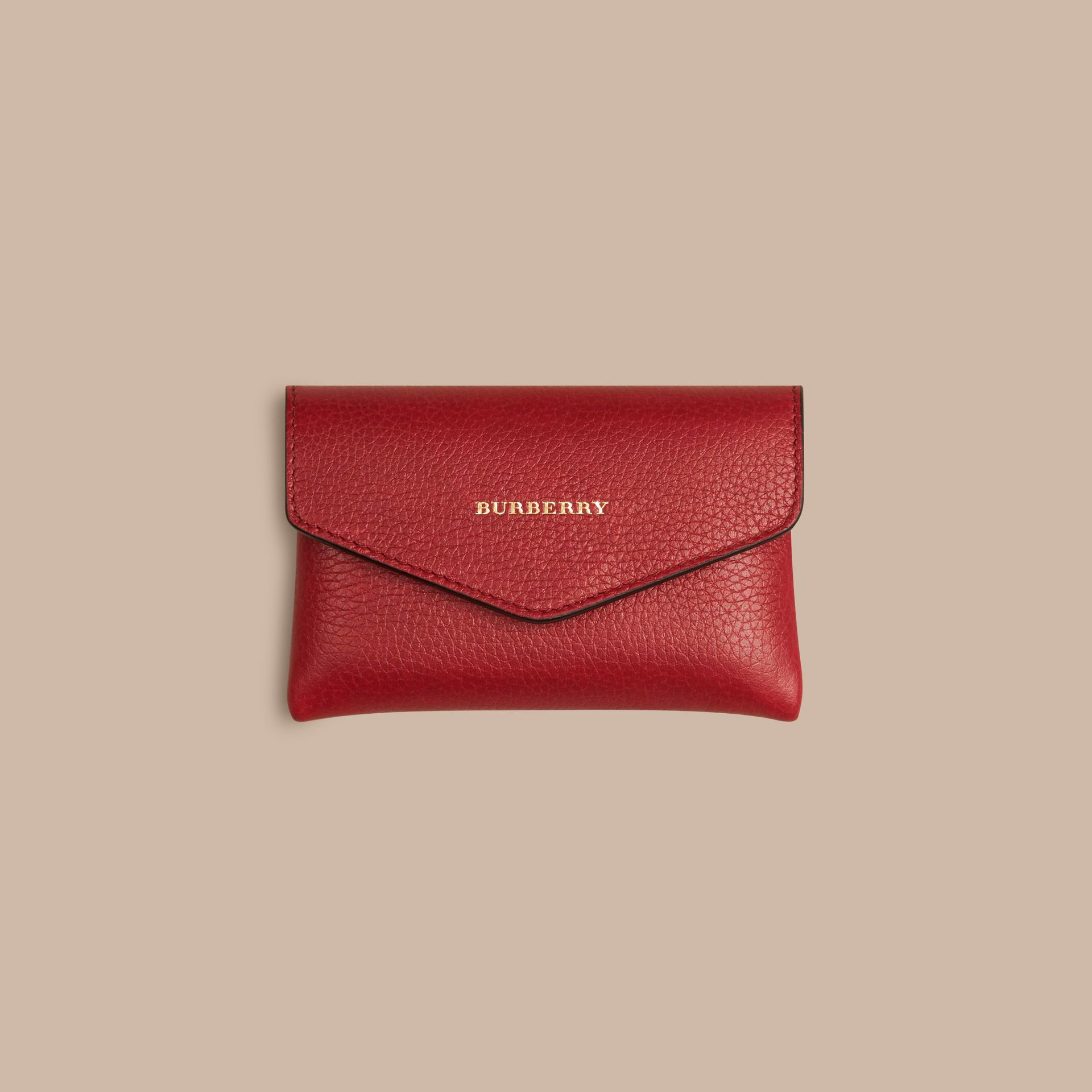 Grainy Leather Playing Card Case in Parade Red | Burberry - gallery image 3