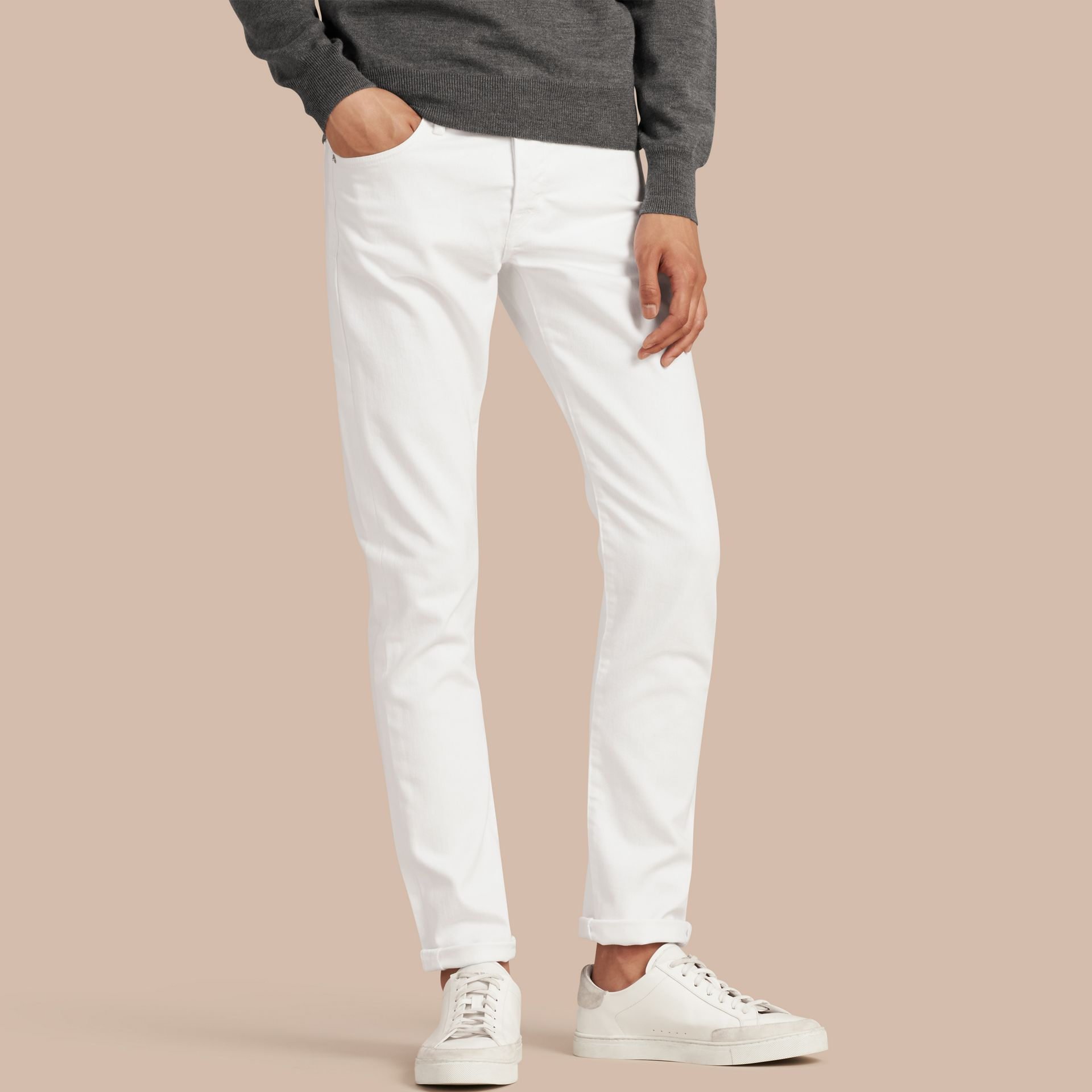 Straight Fit Stretch Japanese Denim Jeans in White - Men | Burberry - gallery image 1